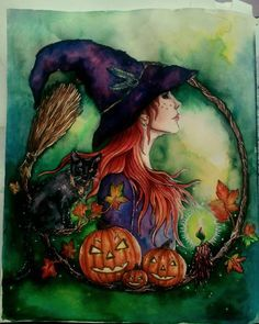 Halloween Pictures, Halloween Art, Witch Pictures, Samhain, Adult Coloring, Coloring Books, Hanna Karlzon, Wicca, Hedge Witch