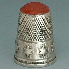 Antique Stone Top Silver Star Band Thimble German Circa 1900s | eBay