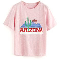 FAIR+true Fairly Made Retro Arizona Tee ($32) ❤ liked on Polyvore featuring tops, t-shirts, retro tops, pink top, retro t shirts, logo design t shirts and pink t shirt