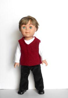 18 Inch Boy Doll Clothes, Red Sweater Vest, White T Shirt, Black Corduroy Pants, 3 Piece Ensemble, 18 Inch Boy Doll Dress Clothes