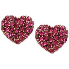 Betsey Johnson Gold-Tone Pink Pave Heart Stud Earrings ($30) ❤ liked on Polyvore featuring jewelry, earrings, pink, pave earrings, pink earrings, pave stud earrings, heart shaped stud earrings and pink stud earrings