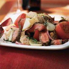Sourdough Panzanella with Grilled Flank Steak Recipe | MyRecipes.com