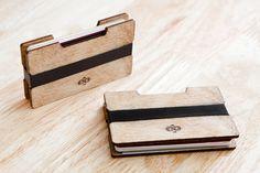 Wooden Wallet Card Holder in Natural