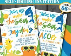 Self-Editing Under the Sea Party Invitation-Printable Pool Party-Summer Party-Pool Side Party-Splash Birthday-First Birthday-Any age-A134-B