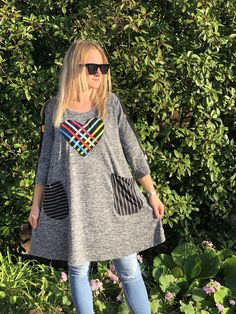 M size I am likeable Comfy Gray Tunic Dress, Funky comfy Dress,Upcycled Dress Knee Length Recycled Fashion,Gray with polka dots heart Funky Dresses, Comfy Dresses, Unique Fashion, Boho Fashion, Mode Unique, Recycled Fashion, Dress Out, Loose Fitting Tops, Patchwork Dress