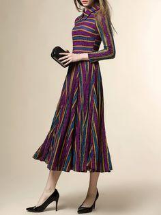 Purple Stripes Pierced A-line Long Sleeve Midi Dress