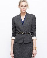 """Tweed One Button Jacket - All you need is tweed this season, especially when tailored with a collarless silhouette and cropped cut. Worn head-to-toe or mixed-and-matched, it's one of the season's most sophisticated looks - especially when topped off with a polished belt. Long sleeves with functional sleeve buttons for added styling options. One-button front. Front besom pockets. Lined. 20 1/2"""" long."""