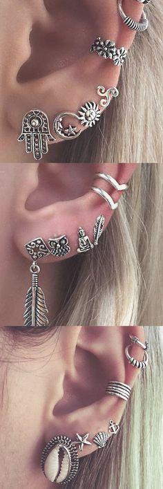 Tribal Boho Multiple Ear Piercing Ideas Combinations for Cartilage, Helix, Tragu. - Tribal Boho Multiple Ear Piercing Ideas Combinations for Cartilage, Helix, Tragus … – Ear – - Cartilage Ring, Daith Piercing, Body Piercings, Daith Earrings, Tongue Piercings, Ear Cuffs, Ear Piercing Combinations, Piercings Bonitos, Ear Piercings Industrial
