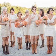 Bridesmaid Dresses with Cowboy Boots // Jennifer Weems Photography // http://www.theknot.com/weddings/album/a-rustic-outdoor-wedding-in-austin-tx-137403