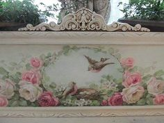 ORIGINAL Christie REPASY PAINTING PINK WHITE ROSES BIRDS NEST in FRAME