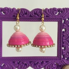 paper quilling jhumkas with pearls