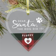 Let Santa know who the truly naughty one of the family is - your family dog and not your adorable kids with a fun personalized pet ornament #petornaments #Christmasornaments #personalizedornaments #uniqueornaments