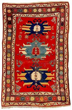 """PROPERTY FROM THE COLLECTION OF DR. & MRS. GREGORY A. KIMBLE - A KAZAK RUG, SOUTHWEST CAUCASUS, approximately 8ft. 6in. by 5ft. 7in. Sotheby's dated this rug to the last quarter of the 19th century. """"A good many people have looked at the big Kazak (Wendell Swan, Paul Mushak, two or three whose names I can't remember at the Textile Museum) & everyone has dated it to the first quarter of the 19th century, not the last."""" email from Gregory Kimble, Oriental Rug Discussion list"""