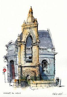 Market Square, Wells, by Chris Lee Textiles Sketchbook, Travel Sketchbook, Artist Sketchbook, Watercolor Architecture, Architecture Drawings, Watercolor Sketch, Watercolor Illustration, Chris Lee, Building Sketch