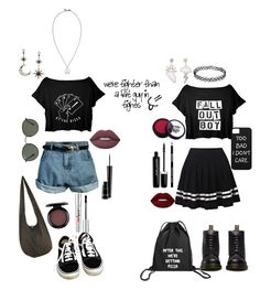 """""""bff look"""" by boom-with-red-eyes ❤ liked on Polyvore featuring Retrò, Betsey Johnson, Paul Smith, Vans, Dr. Martens, Ray-Ban, MAC Cosmetics, Lime Crime and Marc Jacobs"""