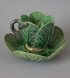 Mafra Majolica Palissy cabbage leaf cup & saucer. I want to find some of these sooo badly!!!
