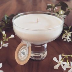 This classic beauty is part of our recycled, vintage glassware range of scented soy candles