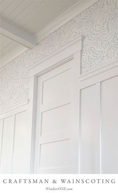 Classical Craftsman trim with wainscoting and coffered ceiling with v-groove boards. more info at the link - Craftsman Trim, Craftsman Interior, Craftsman Style, Craftsman Houses, Ceiling Trim, Wall Trim, Ceiling Design, Wainscoting Styles, Wainscoting Bedroom