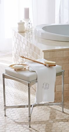 Our Belmont Vanity Stool brings polished sophistication to the master bath. Vanity Stool, Bath Vanities, Beautiful Bathrooms, Home Staging, Bed And Breakfast, Bathroom Accessories, Decoration, Bath And Body, Body Spa
