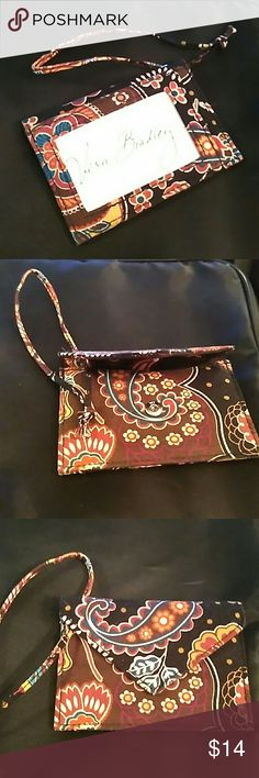 Vera Bradley ID case Brown pattern,  clear window for identification and snap pocket on flip side for cards or cash. Vera Bradley Accessories Key & Card Holders