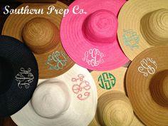 Custom Monogrammed Wide Brim Hat. via Etsy.