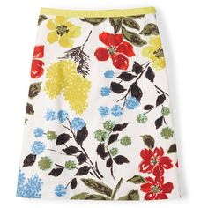 Boden Printed Cotton A-line Skirt ($39) ❤ liked on Polyvore featuring skirts, stripe skirt, polka dot skirt, floral knee length skirt, boden and boden skirts
