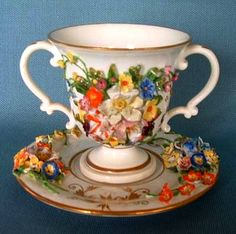 Derby Porcelain (England) -  Chocolate Cup and Saucer.  Applied naturalistic flowers,c.1840  (600x597)