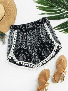 Femme Vintage déchirés denim Tropical Floral Crochet Dentelle POM pom trim shorts 4
