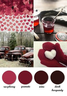 hate hearts :) but the reds / pinks are correct Wedding Color Schemes, Colour Schemes, Color Trends, Color Combos, Wedding Colors, Colour Palettes, Wedding Ideas, Colour Board, Soft Summer