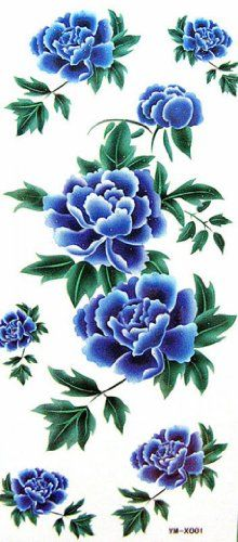 "Tattoo size 7.28""x3.54"" Big blue the peony sexy charm realistic temporary tattoo sticker. Safe and non-toxic design ideal for body art. Professional grade made to last 3 to 5 days and easily transferred by water. Perfect for vacations, girls night, pool parties, bachelorette parties, or any other event you want to look glamorous."