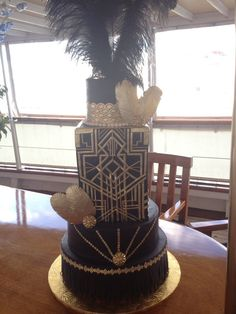 Great Gatsby Themed Wedding Cake Great gatsby themed wedding cake.