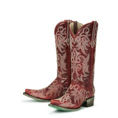 @Overstock - Hand-crafted from smooth leather, these cowboy boots from Lane Boots feature intricate stitched embroidery. With pointed toes and a comfortable padded footbed, these boots are finished with a scratched turquoise outsole.http://www.overstock.com/Clothing-Shoes/Lane-Boots-Womens-Red-Wild-Ginger-Cowboy-Boots/6322172/product.html?CID=214117 $319.99
