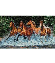 Dimensions® 18''x10'' Counted Cross Stich-Galloping Horses,