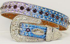 ATLAS BELT Rhinestone Studded Silver Crystal Buckle Blue & Purple Ombre Leather Western Cowgirl Belt