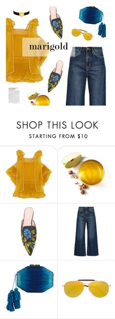 """""""Stay Golden: Dressing in Marigold"""" by magdafunk ❤ liked on Polyvore featuring Chloé, Alberta Ferretti, M.i.h Jeans, Rafe, Tom Ford, McGinn and Kenneth Jay Lane"""