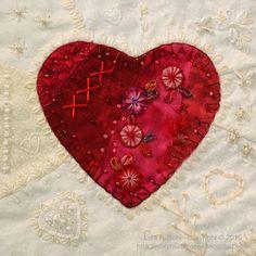 I ❤ crazy quilting, beading & ribbon embroidery . . . CQ Valentine Heart Block 1 ~By Lisa Boni
