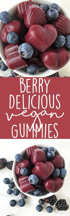 Berry Delicious Vegan Gummies made with agar powder. Healthy snack idea for kids - this recipe calls for the whole fruit, not just sugary fruit juice!