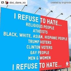 #Repost @doc_dane_xo  No matter what you believe I will still love you. I cannot condone this hate though.... #America #freethinker #loveforall #nohate #americaisgreat #positivity #nomediaforme #icanthinkformyself #repost