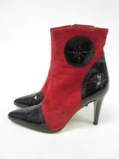 TODD OLDHAM Red Suede Black Patent Leather Pointed Heels Ankle Boots Sz 39 9 at www.ShopLindasStuff.com