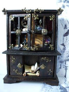 Gothic Witch spell hutch dollhouse miniature  by MidnightsDreams