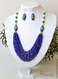"Handmade jewelry sets.  Fair Masters - handmade Set of ""Summer Night.""  Handmade."
