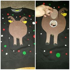 """My homemade ugly Christmas sweater for my husband's work party. The mirror under the tail makes people the """"asshole"""" lol. My homemade ugly Christmas sweater for my husband's work party. The mirror under the tail makes people the asshole lol. Homemade Ugly Christmas Sweater, Diy Ugly Christmas Sweater, Ugly Sweater Party, Xmas Sweaters, Ugly Sweaters Diy, Xmas Shirts, Christmas Outfits, Ugly Sweater Contest, Game Of Thrones"""