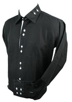 8c49e2d6edd Mens Italian Button Collar Shirt Black White Stitch Trim Slim Fit Smart  Casual