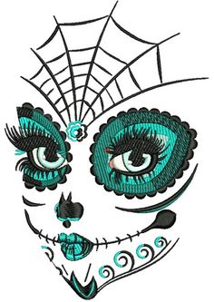 Skull makeup machine embroidery design. Machine embroidery design. www.embroideres.com