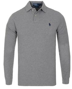 POLO RALPH LAUREN LONG SLEEVE CUSTOM FIT PIK ANDOVER HEATHER