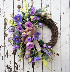 Petite Wreath/ Everyday Wreath/ Spring Front Door Wreath / Summer Front Door Wreath/ Home Decor/ Front Door Wreath/ Spring Decor/ Summer Decor / Silk Floral Decor / Silk Floral Wreath Spring or Summer Time Wreath - Petite Crescent Wreath with Lavender Poppies and Roses, Yellow