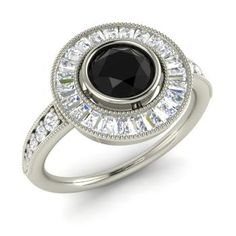 Round Black Diamond Halo Ring in 14k White Gold with VS Diamond ,SI Diamond