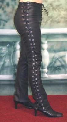 Women's sidelace pants in black leather. $310 base price.