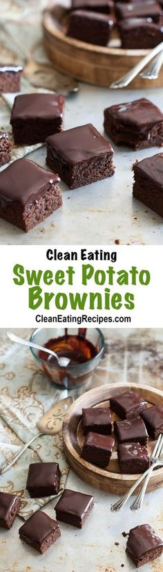I love this brownie recipe because they are moist and rich from the sweet potatoes and they don't taste healthy. All clean eating ingredients are used for this healthy dessert recipe. Pin now for later!