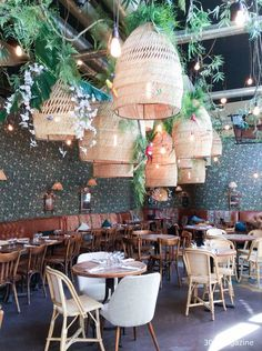 Le Brebant Paris // love the big woven basket lights. Would be great for a back patio!